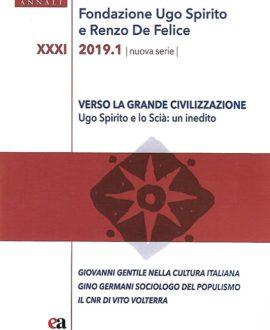 Annali XXXI-2019 Fondazione Ugo Spirito e Renzo De Felice